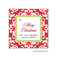 Holiday Grande Floral Poppy Personalized Holiday Sticker