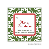 Holiday Grande Floral Evergreen Personalized Holiday Sticker