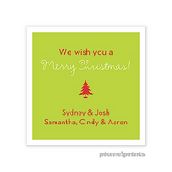White Border Chartreuse Personalized Holiday Sticker
