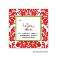 Holiday Damask Poppy Personalized Holiday Sticker