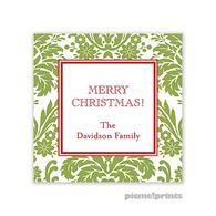 Holiday Damask Cilantro Personalized Holiday Sticker