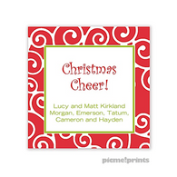 Merry Scrolls Poppy Personalized Holiday Sticker