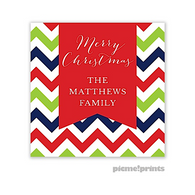 Chevron Christmas Personalized Holiday Sticker