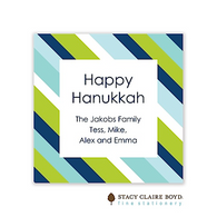 Preppy Stripe Blue Holiday Flat Enclosure Card