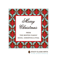 Fleur de Lovely Red Holiday Flat Enclosure Card