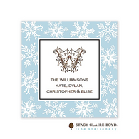 Fanciful Snowflakes Blue Holiday Flat Enclosure Card