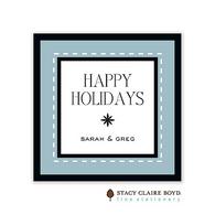 Dashing Through The Snow Slate Blue Holiday Gift Sticker