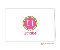 Simply Scalloped Pink Personalized Folded Notecard