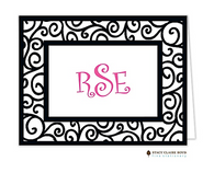 Dancing Vine Black Personalized Folded Notecard