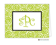 Whirlygig Green Personalized Folded Notecard