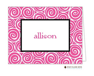 Whirlygig Pink Personalized Folded Notecard