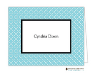 Trailing Trellis Aqua Personalized Folded Notecard