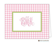 Gleeful Gingham Pink Personalized Folded Notecard