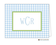 Gleeful Gingham Blue Personalized Folded Notecard