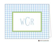 Gleeful Gingham Blue Personalized Folded Notecard