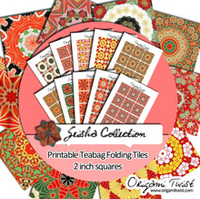 Geisha Printable Teabag Folding Tiles 10 Page Collection