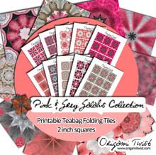 Pink & Grey Galahs Printable Teabag Folding Tiles 10 Page Collection