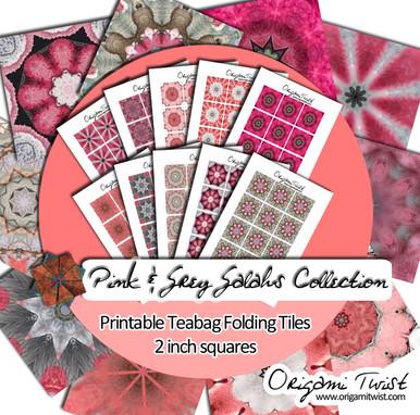 Pink & Grey Galahs Printable Teabag Folding Tiles 10 Page Collection