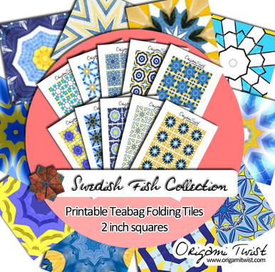 Swedish Fish Printable Teabag Folding Tiles 10 Page Collection