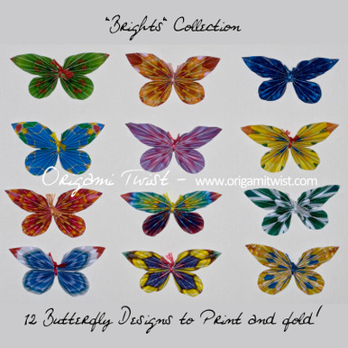The Brights Collection Butterfly PDF includes the printable designs need to make all 12 of the butterflies in this photo.