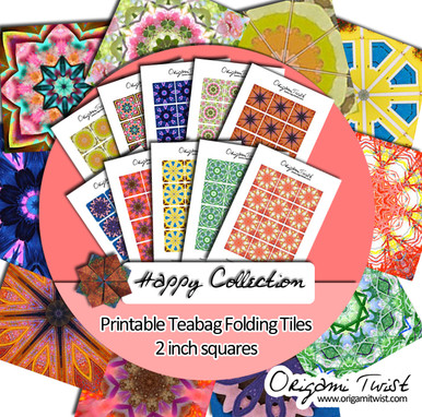 Happy Collection - Origami Twist Teabag Folding Tiles - 2 inch squares