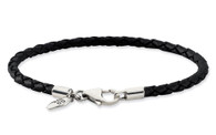Sterling Silver and Black Leather Bead Bracelet