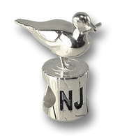 Sterling silver Seagull charm, made in the USA.