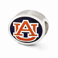 Sterling silver Auburn University Bead charm. Compatible with Pandora type jewelry.
