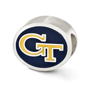 Sterling silver Georgia Tech Yellow Jackets Bead charm fits most Pandora type jewelry.