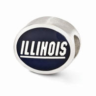 Sterling Silver University of Illinois Bead charm. Compatible with most Pandora type charm bracelets