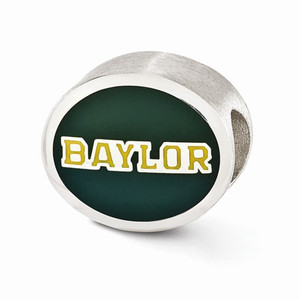 Baylor University Bead is sterling silver and enamel. It's compatible with most Pandora and Trollbeads type charm bracelet.