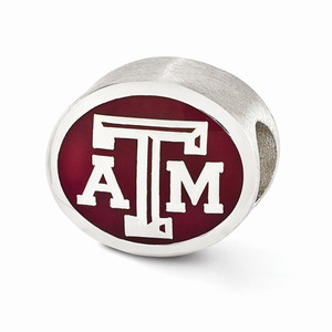 Sterling silver Texas A&M University bead is compatible with most Pandora type charm bracelets