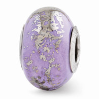 Lilac ceramic bead with foiled design. Pandora & Troll compatible