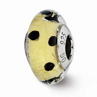 Gold with black polka dots glass bead fits Pandora and trollbeads