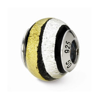 Gold with black & silver swirls glass bead.