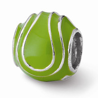 Tennis ball bead with green enamel