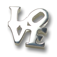 Silver LOVE charm front view