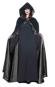 BLACK DELUXE VELVET & SATIN CAPE