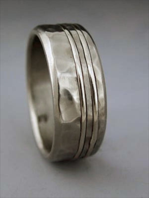 big hammer titanium ring with double 1mm inlay