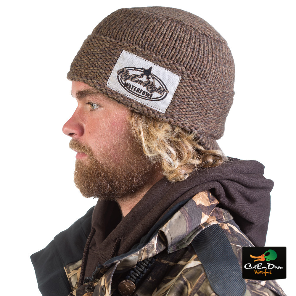 Rig Em Right Heavy Weight Billed Knit Beanie Olive Timber
