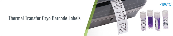 thermal transfer cryogenic labels, thermal transfer white labels for vials and tubes, for thermal transfer printer labels, thermal transfer cryo labels, thermal transfer labels for storage in cryogenic environments