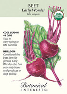 Beet Early Wonder Organic HEIRLOOM Seeds