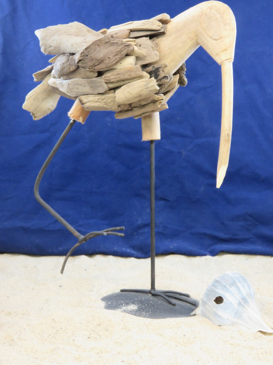 Driftwood Shorebird Sandpiper Egret Heron Sculpture Weathered Wood Coastal Beach Decor