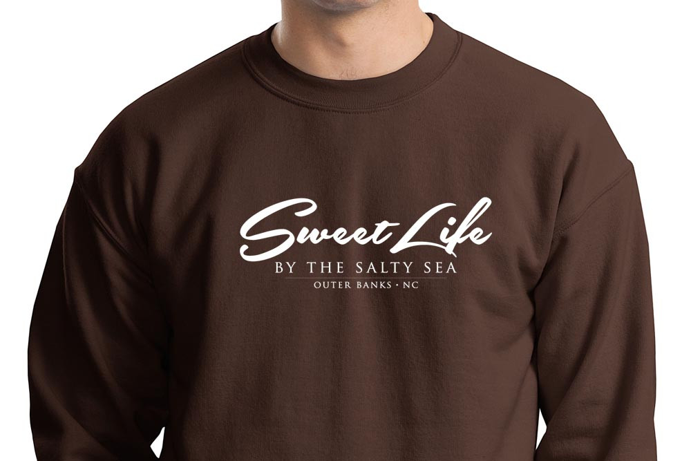 Closeup of Graphic on Chocolate Sweat Shirt