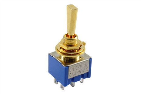 ON-OFF-ON Mini paddle toggle switch - Gold