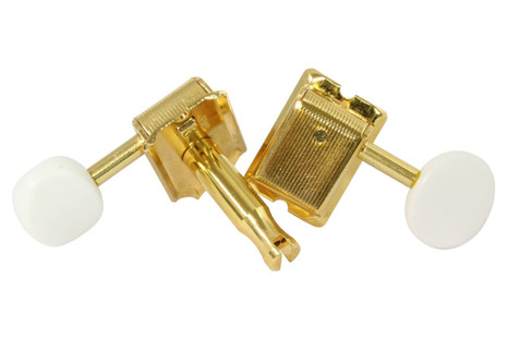 Vintage style GOTOH SD91 tuning machine with split sting post.  Gold with white buttons.