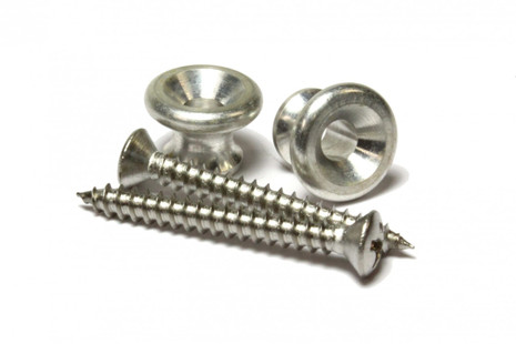 Aluminum strap buttons set with mounting screws.