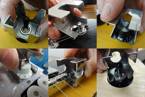 Multi-purpose guitar nut cube for repair of loose control nuts.