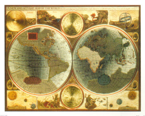 A New and Accvrat Map of the World Vintage Wall Decor Art Print Poster (16x20)