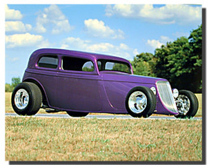 1932 Ford Sedan Classic Purple Car Posters